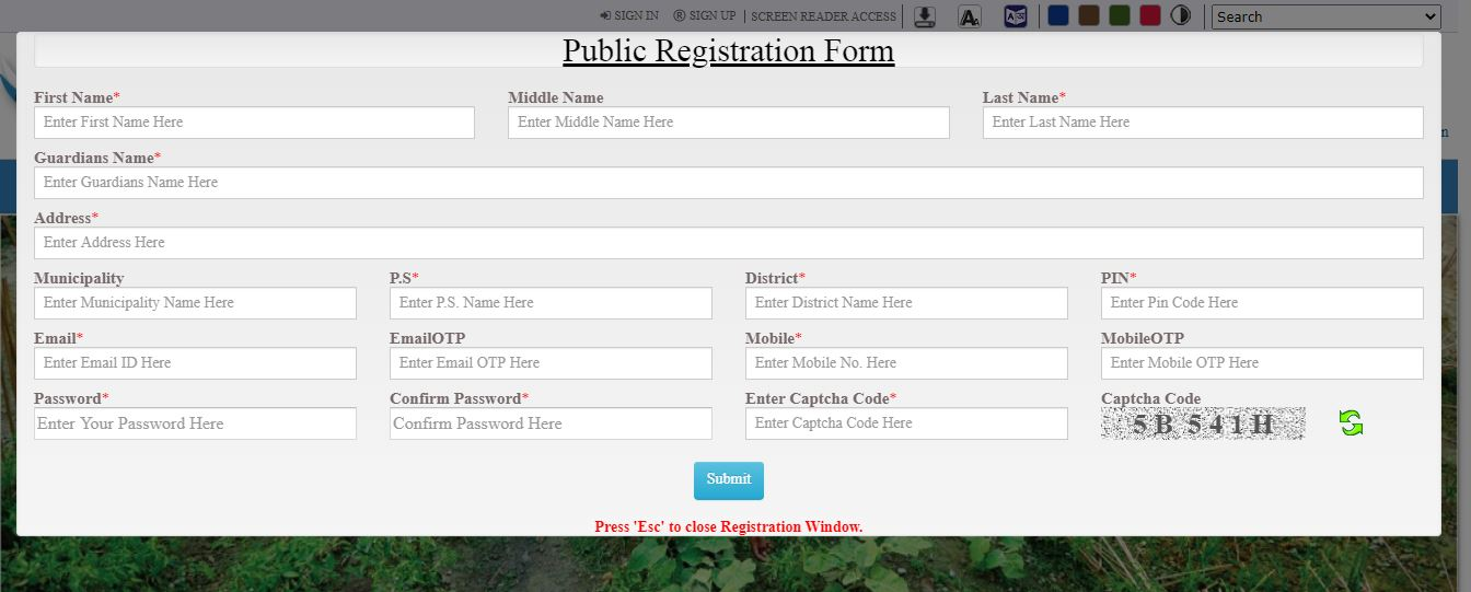 Banglarbhumi-Online-Registration-Form