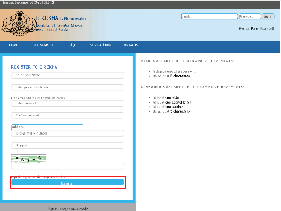 E-Rekha-Potal-Online-Registration